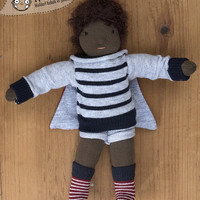 "Waldorf super hero doll - textile doll for boys - 22 cm / 9""- African-American"