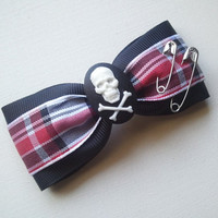 Punk Rock, Plaid, Oi, Skull and Crossbones Tuxedo Style Hair Bow