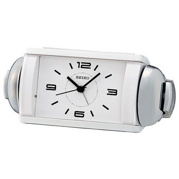 Seiko Bedside Alarm Clock with Loud Bell Alarm and Snooze - White Design