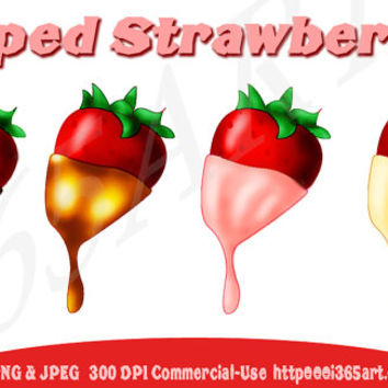 Chocolate Strawberries Valentines Day Clipart Pack Caramel, Strawberry, White Chocolate/Vanilla Sweets Fruit 300 DPI PNG& JPEG Commercial