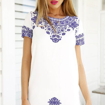 Porcelain Print Short Sleeve Mini Shift Dress