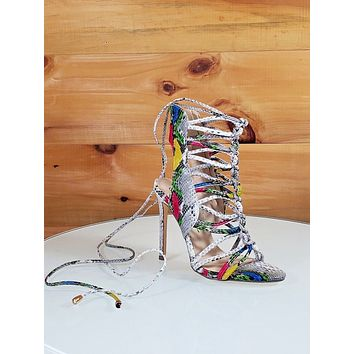 "Lucy Multi Snake Open Toe Knotted Strappy Stiletto - 4.5"" High Heel Shoes"