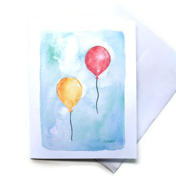 Balloons Watercolor Thank You Note Cards Set of 6