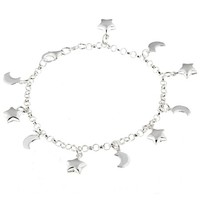 Sterling Silver Moon and Stars Charm Bracelet | Overstock.com Shopping - The Best Deals on Sterling Silver Bracelets