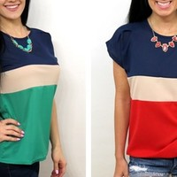 Summer Color Block Tops – even red, white, and blue