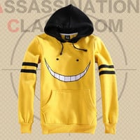 Anime Assassination Classroom Ansatsu Kyoushitsu Korosensei Hoodies Women Printed Yellow Hoodie Hooded Pullovers Free Shipping