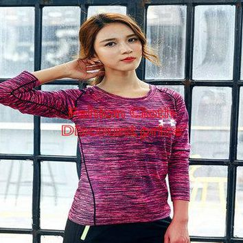 Under Armour FreeLift Prime Tee T-Shirt Women Long Sleeve M-4X 8181 Rose Red