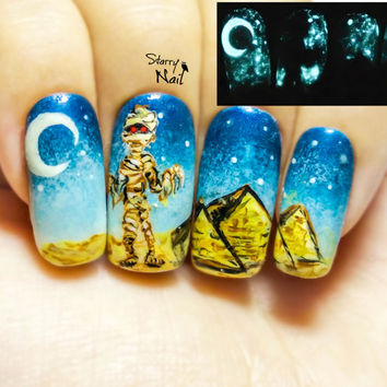 Mummy & Pyramids Glow in the Dark Nail Art. Handmade Fake Nails, False Nails, Press On Nails, Micropainting On Nails