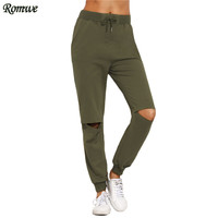 ROMWE Women Casual Trousers For Autumn Ladies Plain Army Green Drawstring Mid Waist Tie Cut Out Knee Long Pants