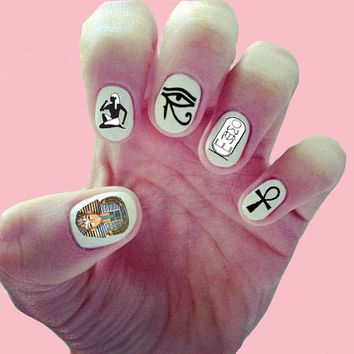 Egyptian Lover Nail Decals/ Nail Wraps/ Nail Art/ Ankh/ Eye of Horus/ King Tut/ Hieroglyphics/ Ancient Egypt Symbols