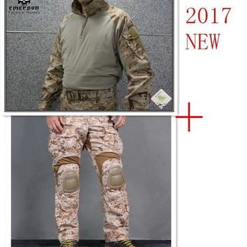 DCCK7N3 Emerson tactical bdu G3 Combat uniform shirt & Pants & knee pads Military Army uniform AOR1 airsoft Suits EM8575+7026