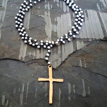 Extra Long Silver Pearl Rosary Solid BRONZE Cross Necklace, Edgy Jewelry