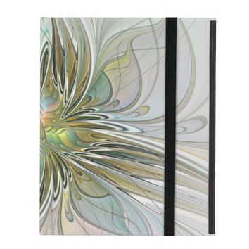 Floral Fantasy Modern Fractal Art Flower With Gold iPad Folio Case