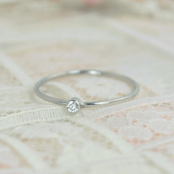 Tiny Diamond Ring Set, Solid White Gold Wedding Set, Diamond Stacking Ring, White Gold Diamond Ring, April Birthstone, Mothers Ring, Diamond