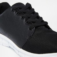 River Island Mesh Trainers with Faux Leather Snake Detail at asos.com