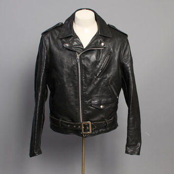 70s SCHOTT Perfecto LEATHER JACKET / Classic Black Biker Jacket, L 44