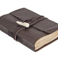 Dark Brown Leather Journal with Tea Stained Paper and Antler Closure - Ready to Ship -