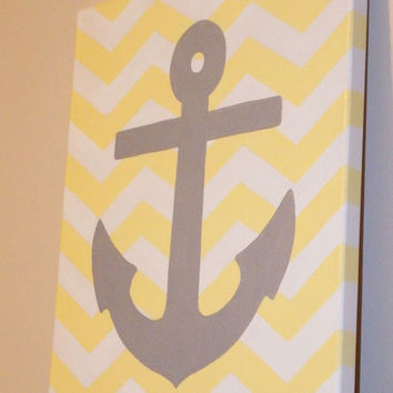 Hand Painted Chevron & Anchor Canvas - 11 x 14