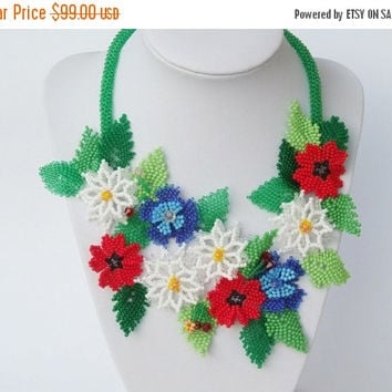 ON SALE FREE Shipping Ukrainian necklace Beaded necklace flower necklace poppy camomile cornflower necklace floral necklace chaplet necklace
