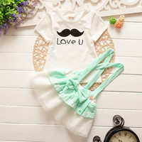 2015 brand summer style newborn baby girl set mustachio letter white t shirt + lace flower suspender bow dress clothing set 1-4Y