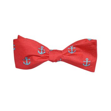 Anchor Bow Tie - Light Blue on Coral, Printed Silk