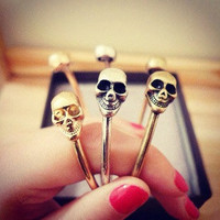 Adjustable Skull Bangle Bracelet