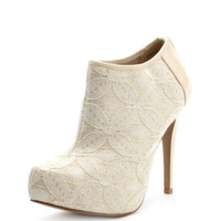 Charlotte Russe - Lace Covered Ankle Bootie