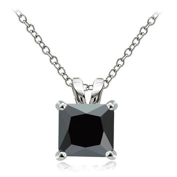 925 Sterling Silver 9.5ct Black Cubic Zirconia 12mm Square Solitaire Necklace