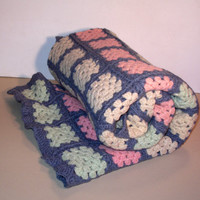 Vintage Wool Shabby Chic Granny Square Afghan Crocheted  Blanket Throw Lap