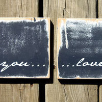 Vintage Inspired Typography Wall Art I love You Too by 13pumpkins