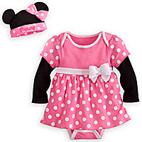 Minnie Mouse Pink Disney Cuddly Bodysuit Dress Set for Baby - Personalizable