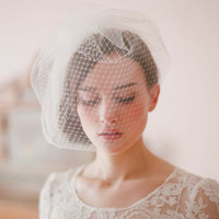 Bridal birdcage veil Double layer full birdcage veil by myrakim