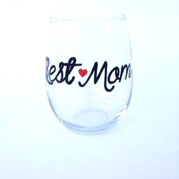Best Mom hand painted stemless wine glass tumbler