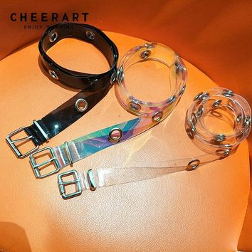Cheerart Holographic Transparent Belt For Women PVC Punk Rock Silver Metal Chain Black Waist Belt Street Fashion