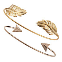 Set of Two Arrow & Leaf Cuff Bracelets