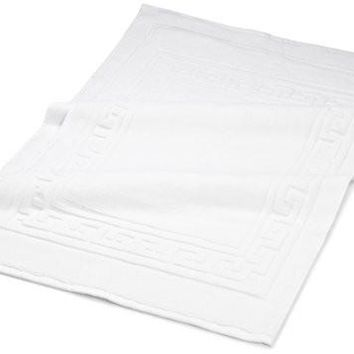 "Superior Hotel & Spa Quality Bath Mat Set of 2, Made of 100% Premium Long-Staple Combed Cotton, Durable and Washable Bathroom Mat 2-Pack - White, 22"" x 35"" each"
