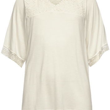 Full Tilt Lace Inset Girls Peasant Top Cream  In Sizes