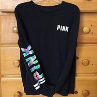 PINK Victorian tide fashion women's fashion letter printing long-sleeved pullover shirt T-shirt F