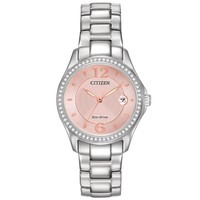 Ladies' Citizen Eco-Drive Silhouette Crystal Pink Dial Watch