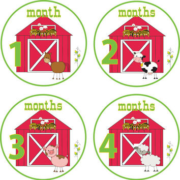 Baby Month Stickers Baby Monthly Stickers Monthly Shirt Stickers Farm Baby Shower Gift Photo Prop Baby Milestone Sticker