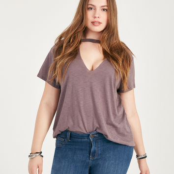 Plus Size Cutout V-Neck Choker Top | Wet Seal Plus