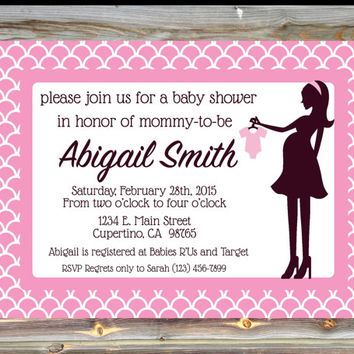 Personalized Custom Color Baby Girl Shower Onesuit Theme Invitation - Baby Shower Silhouette Invitation - Elegant Pink Baby Shower Invitation