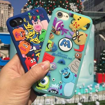 Cute 3D Cartoon Soft Silicone case For Apple iPhone 5 SE 5s 6 6s 6Plus 7 8 Plus Phone Cases Cover Toy Story Monsters Stitch Capa