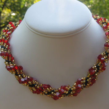 Spiral rope red and golden necklace. Free matching bracelet. free shipping