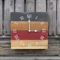 Rustic Pallet Clock, Wood Clock, Rustic Wall Clock, Primitive Clock, Red and Black Clock, Rustic Clock, Pallet Like Clock, Rustic Wood Clock