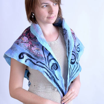 Triangle, nuno felt, flower kerchief in blue - silk and wool kerchief scarf with floral pattern - nuno felt and needle felted [S142]