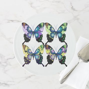 Aqua, Pink, and Yellow - Elegant Butterflies Cake Stand