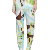 Printed Voile Tapered Coverup Pants, Size: