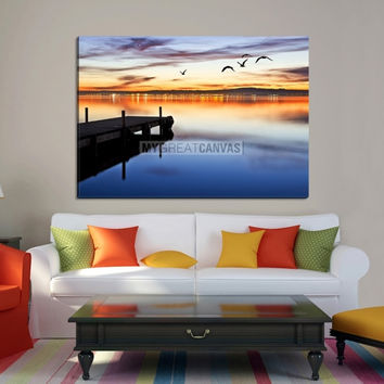 Large Wall Art Canvas Wooden Pier and Birds with City Light Reflection in Twilight