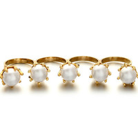 Four Finger Pearl Ring - Gold